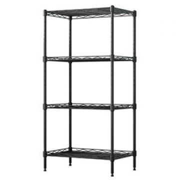 High Quality 4 Tiers Chrome Metal Wire Bathroom Washing Machine Storage Rack Shelf with Basket